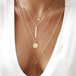 4 for $25⚡️multilayer star bar coin necklace